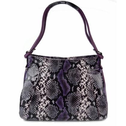 Дамска кожена чанта змийски принт