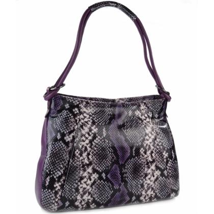 Лилава дамска чанта, Змийски принт, 210-1
