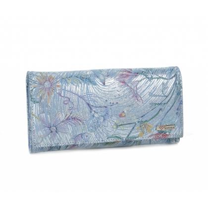Дамско синьо портмоне, Цветя, Голямо, 653