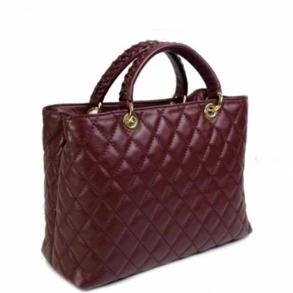 Дамска чанта от естествена кожа, Бордо, 19403-1