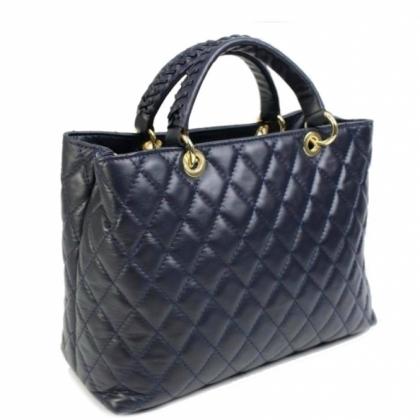 Дамска кожена чанта, Тъмносиня, 19403-2