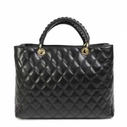 Черна кожена чанта, Естествена кожа, 19403-4