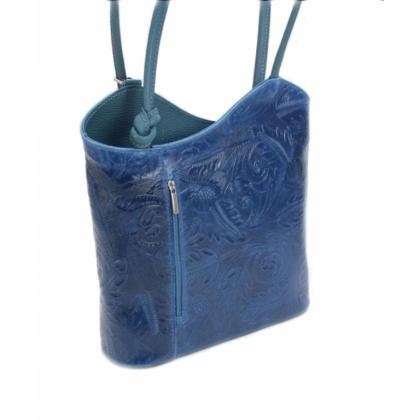 Дамска кожена чанта раница, Синя, 100118-4