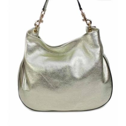 Златиста дамска чанта от естествена кожа, 1060-1