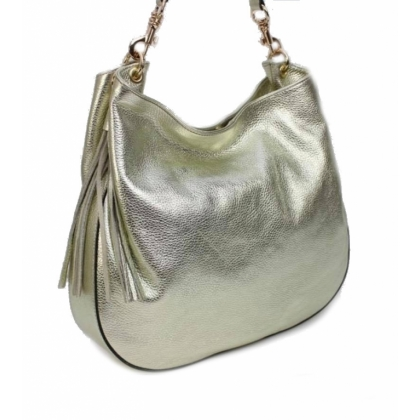 Златна кожена чанта