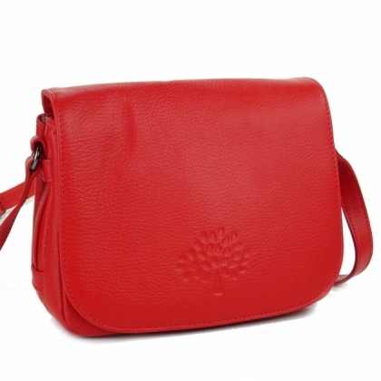 Червена дамска чанта, През рамо, 4847-2