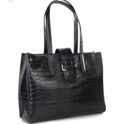 Черна кожена чанта, Крокодил, 177781