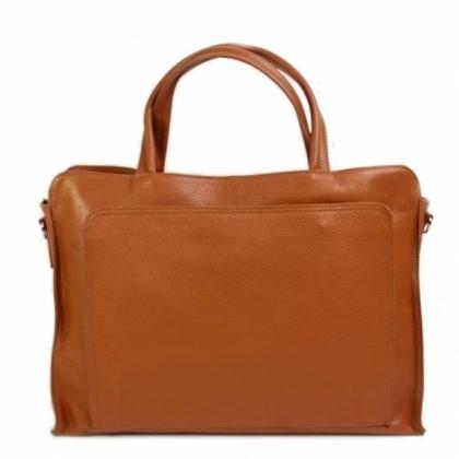 Дамска бизнес чанта, Коняк, 17225-11