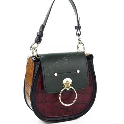 Дамска чанта от еко кожа с овална форма 9101