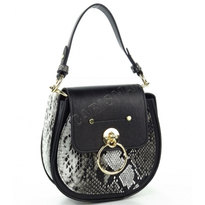 Кръгла дамска чанта от еко кожа с змийски принт 9101-1