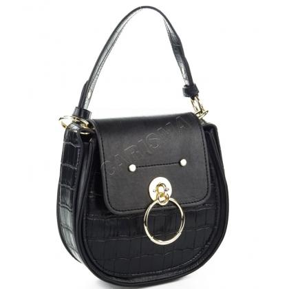 Чанта от еко кожа с овална форма в черен цвят 9101-4