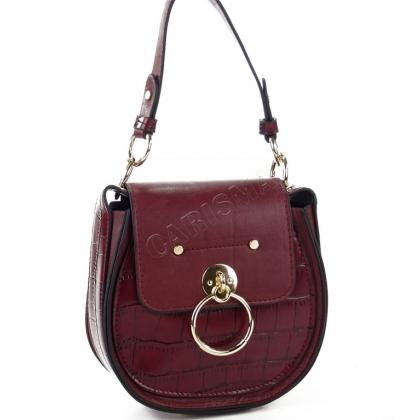 Чанта от еко кожа с овална форма в цвят бордо 9101-5