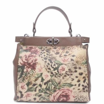 Елегантна дамска чанта, Визон, Цветя, 1040-2