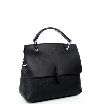 Чанта от естествен кожа с капак в черно K2323