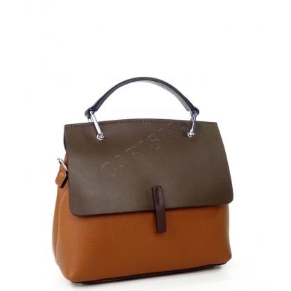 Чанта с капак от естествена кожа в два цвята  K2323-1