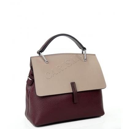 Двуцветна стилна кожена чанта