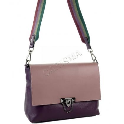 Елегантна, двуцветна кожена чанта за през рамо K2122