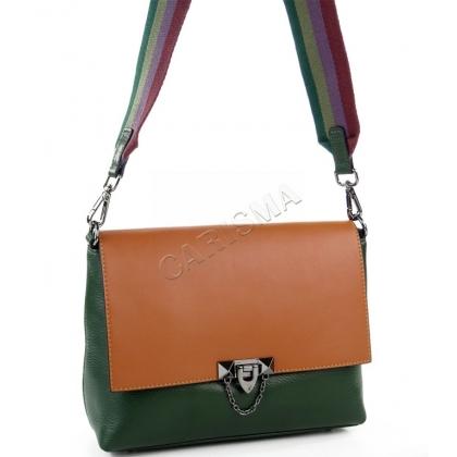 Кожена чанта в два цвята