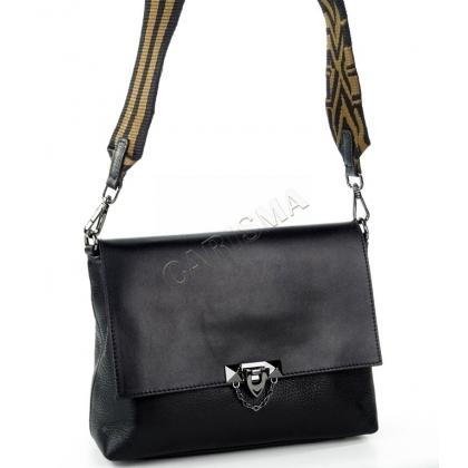 Кожена дамска чанта за през рамо в черно