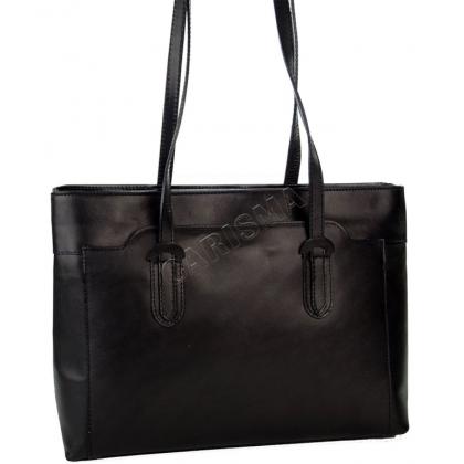 Дамска чанта от висококачествена естествена кожа в черно, I12223