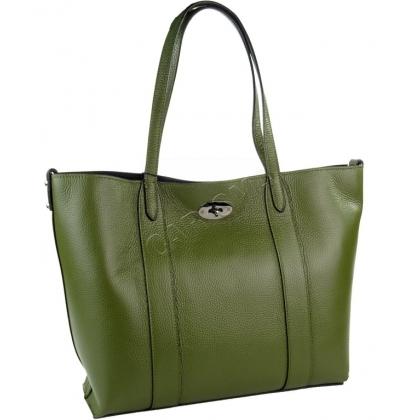 Кожена дамска чанта с органайзер в маслено зелен цвят I1903