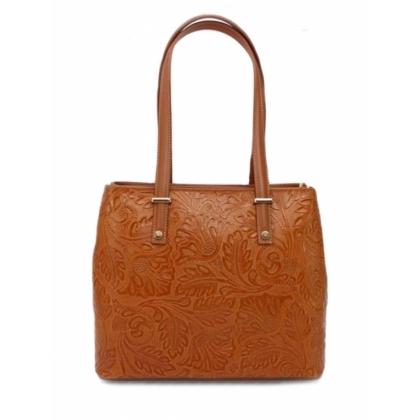Дамска чанта от естествена кожа, Цвят Коняк, 1154-7