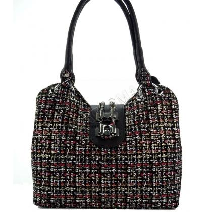 Дамска чанта от естествен велур и кожа 1827-6