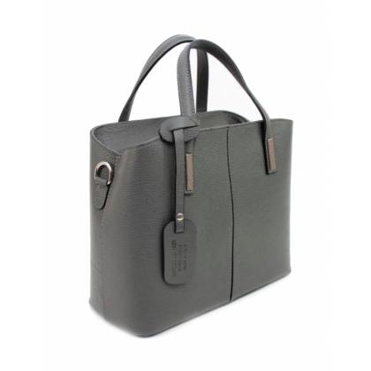 Сива дамска чанта, Естествена кожа, 1354-5