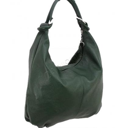 Кожена чанта тип торба в зелен цвят 1393L-10
