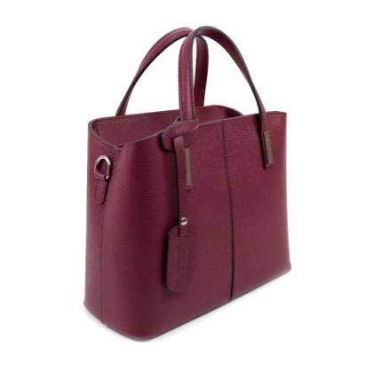 Твърда кожена чанта тип куфарче, Цвят Малина, 1354-3