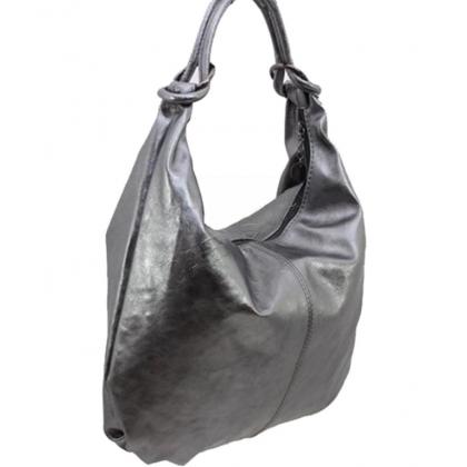 Кожена чанта тип торба в цвят старо сребро 1393L-11
