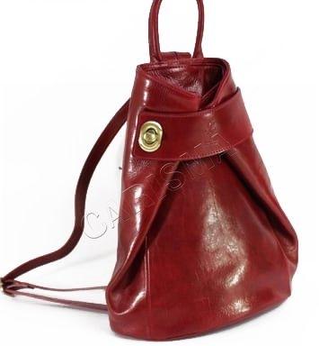 Дамска раничка от естествена кожа в червен цвят 15320L-1