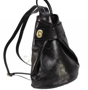 Дамска раница от естествена кожа в черен цвят 15320L-2