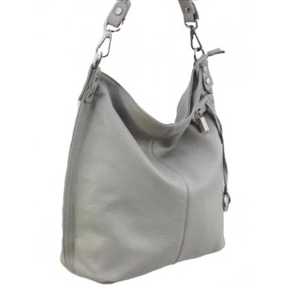 Дамска чанта, тип торба от естествена кожа в светло сиво 1192L-2