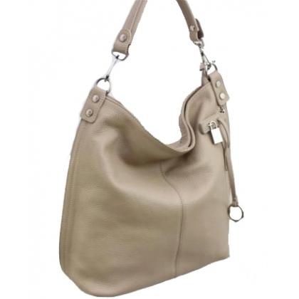 Дамска чанта тип торба от естествена кожа в бежово 1192L-1