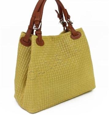 Дамска чанта от естествена кожа с ефектна щампа в жълто L1195
