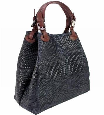 Дамска кожена чанта с ефектна щампа 1195L-2