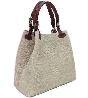 Кожена дамска чанта с ефектна щампа е бежов цвят 1195L-3