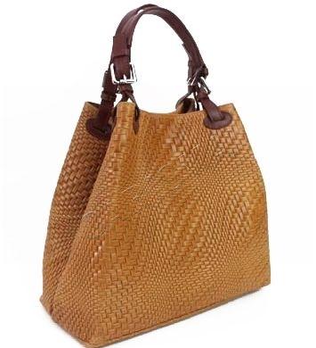 Кожена дамска чанта в цвят тиква 1195L-4