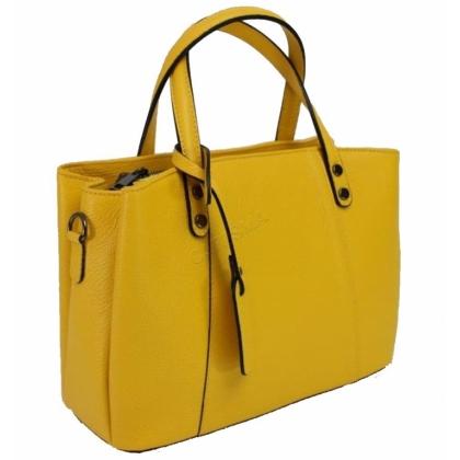 Дамска чанта от естествена кожа в жълт цвят 13593
