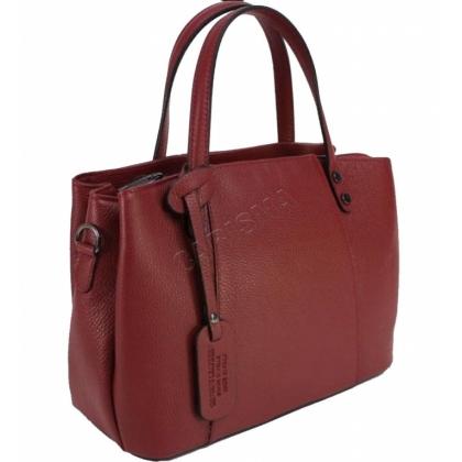 Дамска чанта от естествена кожа в тъмно червено 13593-1
