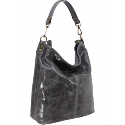 Дамска чанта тип торба от естествена кожа с лек гланц в сив цвят 1193L