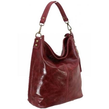 Дамска чанта тип торба от естествена кожа в тъмно червен цвят 1193L-1