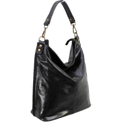 Дамска чанта тип торба от естествена кожа с лек гланц в черен цвят 1193L-2