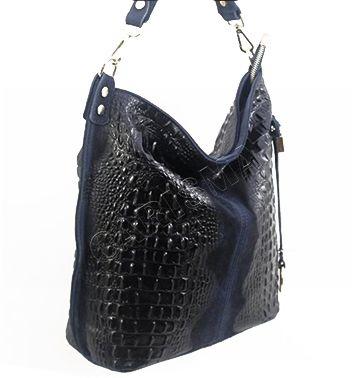 Дамска кожена торба с кроко щампа в тъмно син цвят 11963-1