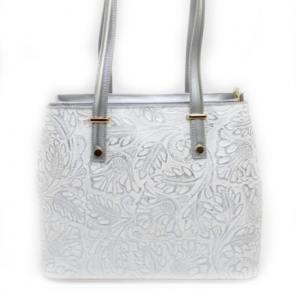 Бяла чанта на сребърни цветя, Естествена кожа, 11543-9