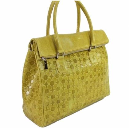 Дамска чанта от естествена кожа в жълт цвят 1177L-2