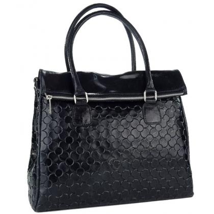 Дамска чанта от естествена кожа в чeрно 1177L