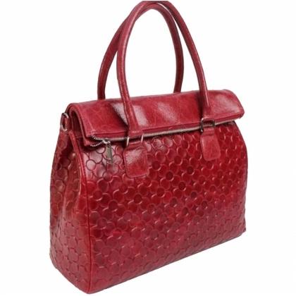 Дамска чанта от естествена кожа в тъмно червен цвят 1177L-4