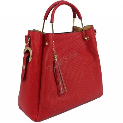 Дамска чанта от естествена кожа с органайзер 11533-1